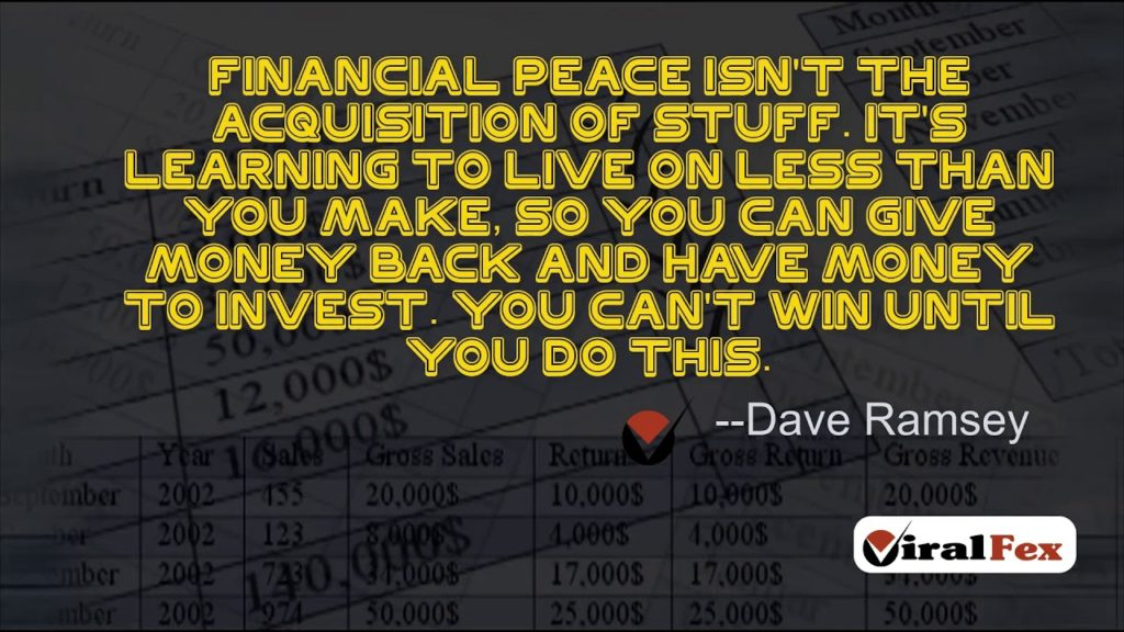 Financial Peace Isn`t The Acquisition Of Stuff By Dave Ramsey Video Quotes