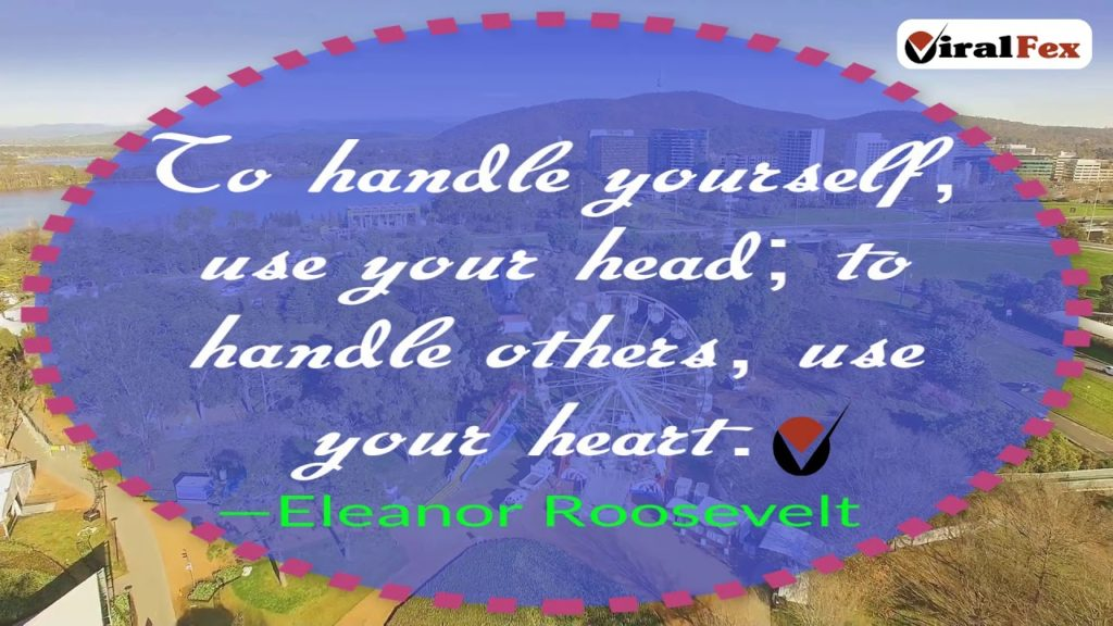 To Handle Yourself, Use Your Head - Eleanor Roosevelt Inspirational Quote